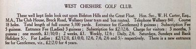West Cheshire Golf Club, Breck Road, Wallasey. From the Wallasey Guide 1926.