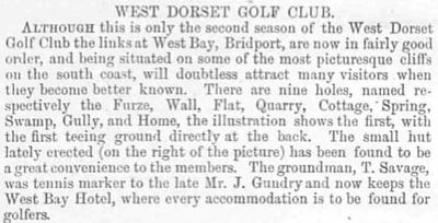 West Dorset Golf Club, Bridport. Report on the golf course from June 1892.