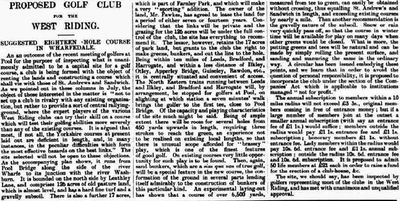 West Riding Golf Club, Leathley Lane Otley. Report on the proposed club and course from  August 1895.