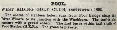 West Riding Golf Club, Leathley Lane Otley. Entry from the Golfing Annual 1897-98.