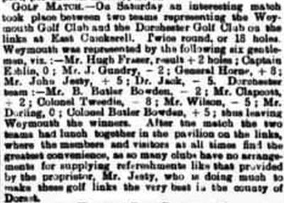 Weymouth Golf Club, East Chickerell. Result of a match against Dorchester Golf Club October 1896.
