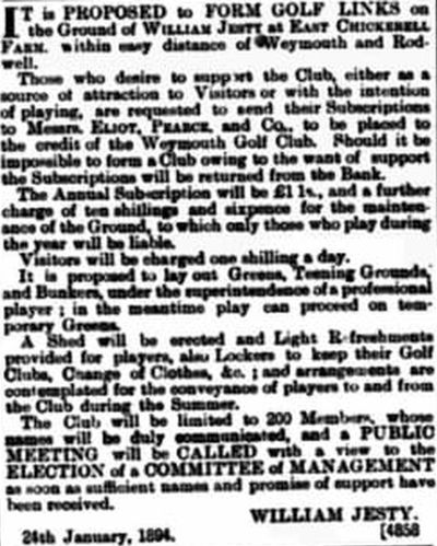 Weymouth Golf Club, East Chickerell. Report on the proposed club in January 1894.