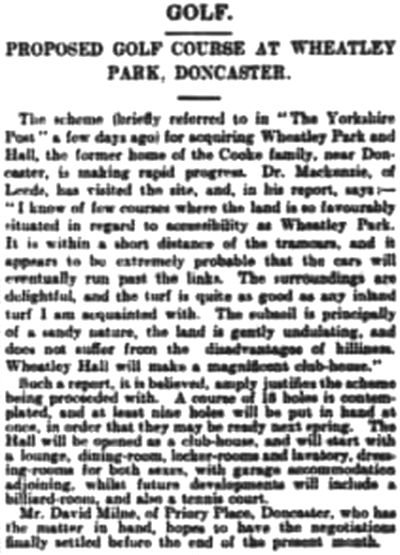 Wheatley Park Golf Club, Report on the proposed club and course November 1913.