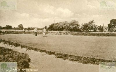 Whitchurch Golf Club, Shropshire. Picture of players, green-keeper and clubhouse.