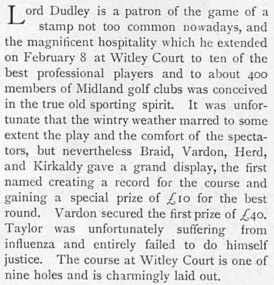 Witley Court Golf Course, Worcestershire. The article accompanying the picture.