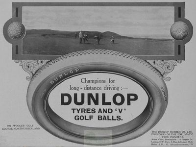 Wooler Golf Club, Northumberland. Advert for Dunlop Tyres and Golf Balls.
