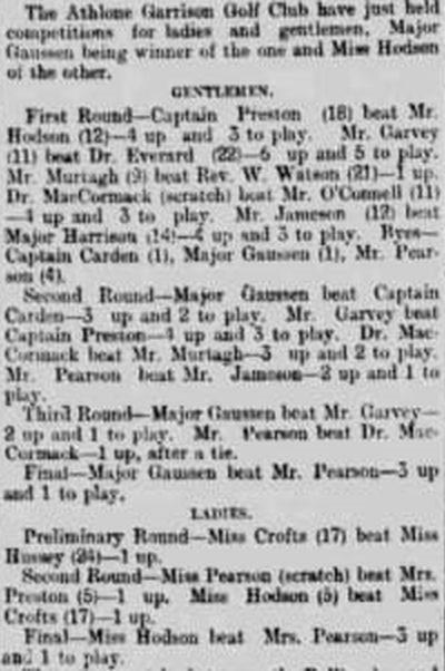 Athlone Garrison Golf Club, Westmeath. Competition results from April 1898.