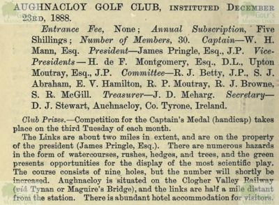 Aughnacloy Golf Club, Tyrone. Entry from the Golfing Annual 1888/89.