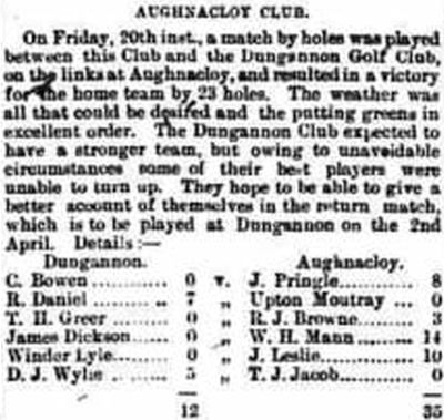 Aughnacloy Golf Club, County Tyrone. Result of a match against Dungannon March 1891.