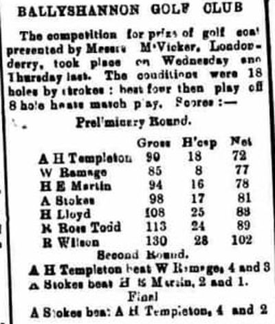 Ballyshannon Golf Club, County Donegal. Report on a competition played in May 1910.