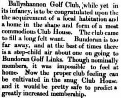 Ballyshannon Golf Club, County Donegal. Report on the new clubhouse in March 1909.