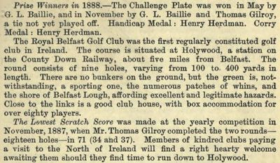 Royal Belfast Golf Club, Holywood. Entry from the 1888/89 Golfing Annual.