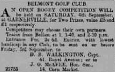 Belmont Golf Club, Garnerville, County Down. Advert for competition played in September 1897.