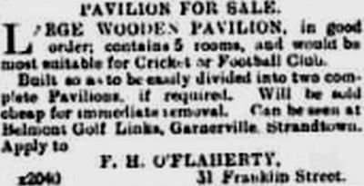 Belmont Golf Club, Garnerville, County Down. Advert for the sale of the golf pavilion in July 1898.