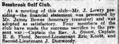Bessbrook Golf Club, County Armagh. Newspaper report from February 1918.
