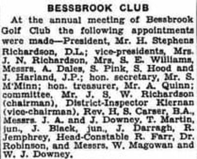 Bessbrook Golf Club, County Armagh. Newspaper report from April 1940.
