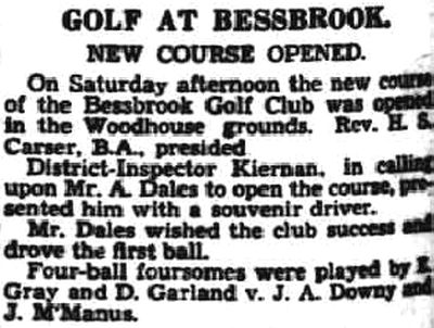 Bessbrook Golf Club, County Armagh. Report on the new course in June 1938.