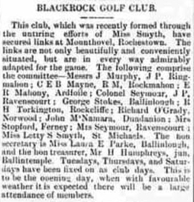 Blackrock Golf Club, County Cork. Newspaper article from November 1895.