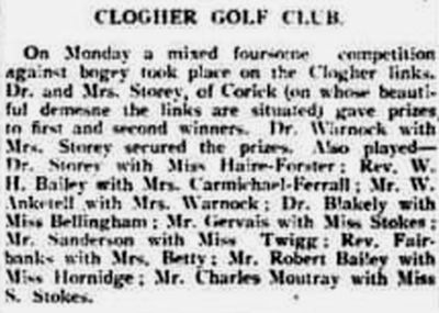 Clogher Golf Club, County Tyrone. Result of a competition played in May 1905.