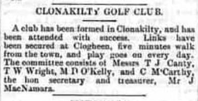 Clonakilty (Inchydoney) Golf Club, County Cork. Formation of the club December 1895.