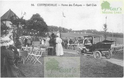 Contrexéville Golf Club, Vosges. A gathering outside the clubhouse.