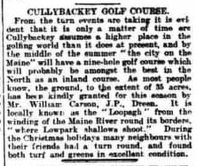 Cullybackey Golf Club, County Antrim. Proposed nine-hole golf course January 1914.