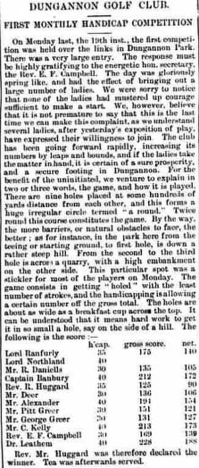 Dungannon Golf Club, County Tyrone. The first monthly handicap competition in January 1891.