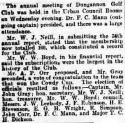 Dungannon Golf Club, County Tyrone. The annual meeting held in November 1923.