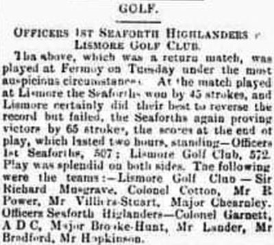 Lismore Golf Club, County Waterford. Result of a match played at Fermoy in May 1892.
