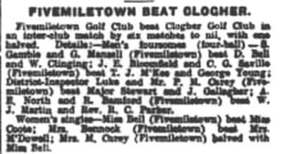 Fivemiletown Golf Club, County Tyrone.  Result of a match against Clogher June 1939.