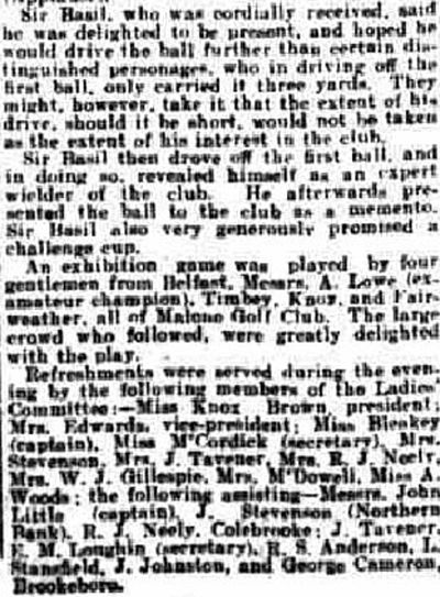 Fivemiletown Golf Club, County Tyrone. Report on the opening of the course in April 1924.