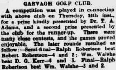 Garvagh Golf Club, County Londonderry. Competition result from May 1925.