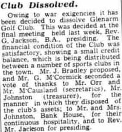 Glenarm Golf Club, County Antrim. Report on the Club being Dissolved in June 1944.