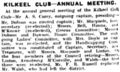 Kilkeel Golf Club, Cranfield, Co. Down. Report on the annual meeting July 1929.