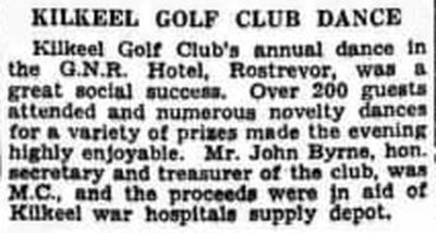 Kilkeel Golf Club, Cranfield, Co. Down. Report on the annual dance February 1940.