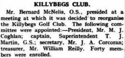 Killybegs Golf Club, County Donegal. Report on the re-organised Killybegs Golf Club in May 1940.