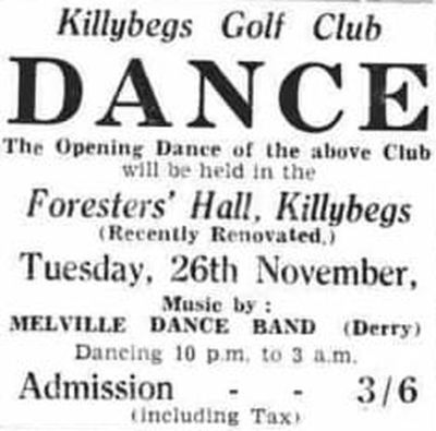 Killybegs Golf Club, County Donegal. Advert for the opening dance of the club in November 1940.