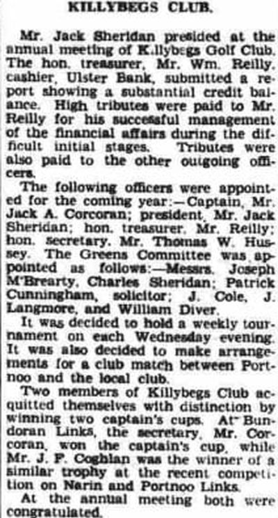 Killybegs Golf Club, County Donegal. Report on the annual meeting held in July 1941.