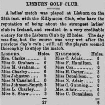 Lisburn Golf Club, County Antrim. Ladies' match played at Lisburn in November 1892.