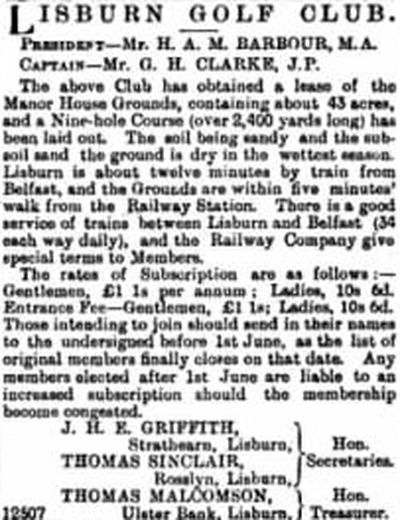 Lisburn Golf Club, County Antrim. Report on the revived club in May 1905.