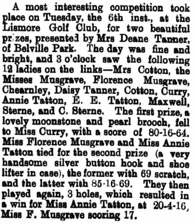 Lismore Golf Club, County Waterford. Result of a ladies competition played in March 1894.