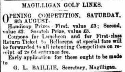 Magilligan Golf Club, County Londonderry. The opening competition August 1896.