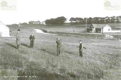 Malahide Golf Club, Co. Dublin. Early picture of the Malahide clubhouse and course.