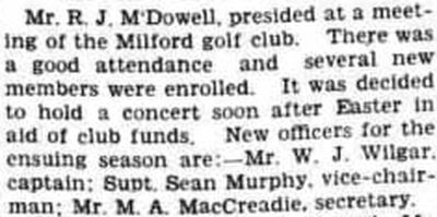 Milford Golf Club, County Donegal. The annual meeting was held in April 1939.