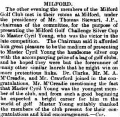 Milford Golf Club, County Donegal. Prize presentation in September 1909.