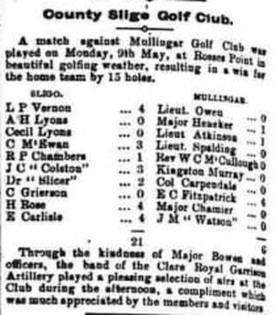 Mullingar Golf Club, County Westmeath. Result of a match played in May 1904.
