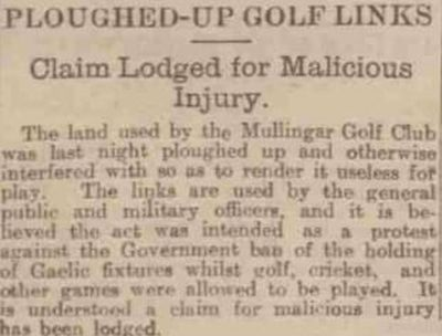 Mullingar Golf Club, County Westmeath. The ploughed-up golf course in 1918.