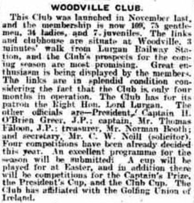 Woodville Golf Club, Lurgan, County Armagh. Newspaper report from April 1919.