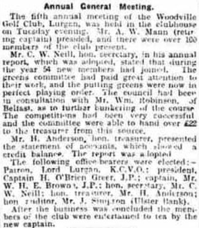 Woodville Golf Club, Lurgan, County Armagh. The annual general meeting November 1923.