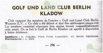 Berlin-Kladow Private Golf Course. Entry from 1950.